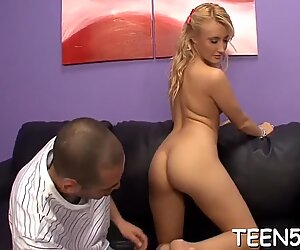 Mature plower takes the majority of juicy twat of a naive teenager