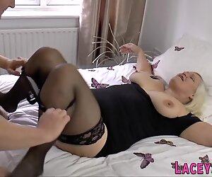 Titfucking Brit grandma sucks and rides cock