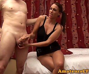 Shaved domina teasing during CFNM fetish