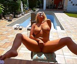 Big tit blonde mature masturbate in the house pool