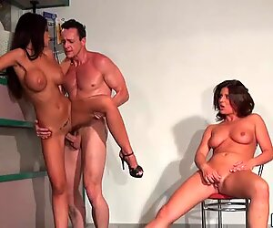 Sexy Black Angelica is having a great fuck in a threesome hardcore action