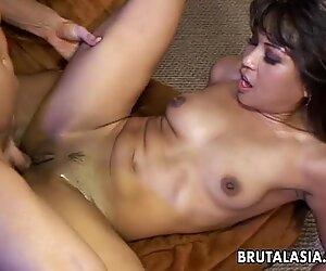 Smoking hot Asian bitch fucking a fat dick so hard