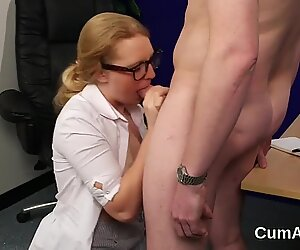 Foxy centerfold gets cumshot on her face gulping all the semen