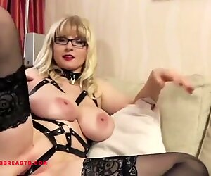 Saggy German tits Casey Deluxe with her ass butt plugged