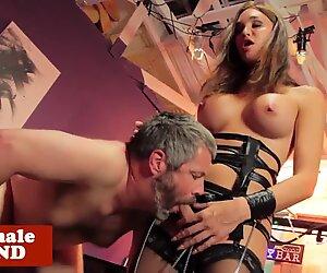 Dominated tgirl mistress makes sub suffer