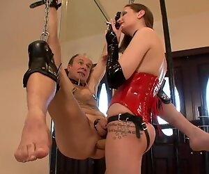 youthfull dominatrix strap dildo Fucks Old Tied Up Slave (Femdom)
