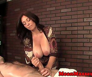 Massaging domina ruins customers orgasm