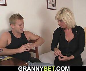 elder mature blondie sucks and rides neighbour's weenie