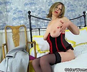 British milf Posh Sophia shows off her natural big hangers