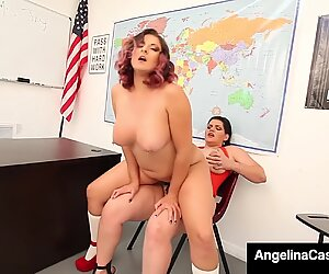 Hot Curvy School Girls Angelina Castro & Gia Love StrapOn Fuck To Orgasm!