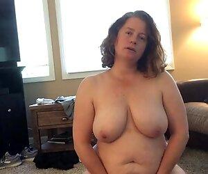 BBW mom with hairy pussy BBC fantasy sucks long black dildo