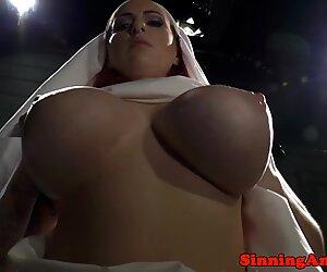 Busty BDSM femdom babes punishing sub slaves