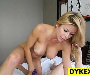 Sexy blonde lez seducing a hot gal