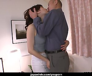 Alluring Japanese chick Noeru Mitsushima swallows a hard hairy rod