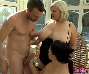 Busty Milf and Grandma Gobble and Ride