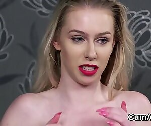 Hot idol gets cum load on her face eating all the charge