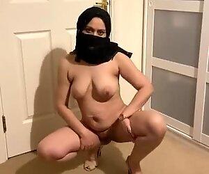 Hijabi Wife Yasmin Khan Stripping Totally Naked Wearing just Hijab n Heels