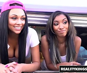 RealityKings - Two ebony teens share some cock