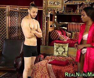 Black masseuse tugs cum