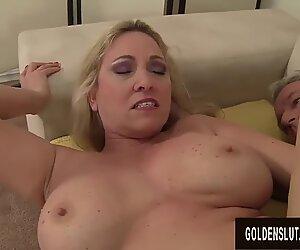 Stunning Big Tits Granny Cala Craves Shows an Old Man Her Skills