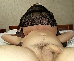Mature stepmother sits on stepson's face. Facesitting