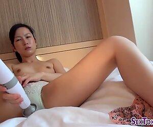 Asian hotties toying puss