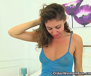 French mummy Chloe finger fucks her fur covered twat