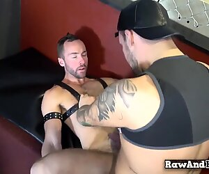 Cocksucking bear gets bareback drilled