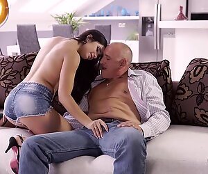OLD4K. Bald Male and Delicate Teen Mira Cuckold Meet at Ibiza