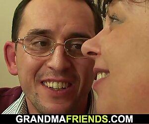 Two buddy seduce big tits mature woman