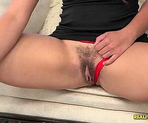 Danira Love shooting her hairy bush on her smartphone