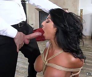 Huge tits Milf fucks in rope bondage