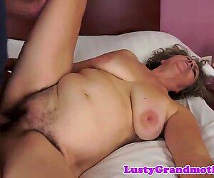 Hairy european grandma sucking and fucking