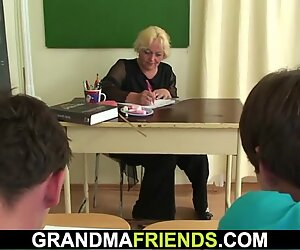 60 yo grandmother teacher is poked by 2 boys