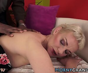 Granny jizzed by masseur