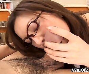 Four eyed college teacher Asahi Miura sucks her student dick deepthroat