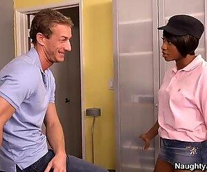 Whorish black mommy Imani Rose blows her white boyfriend's fat dick